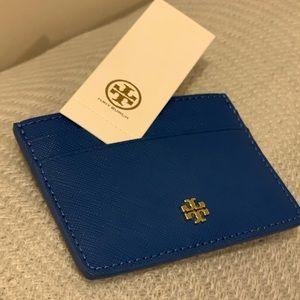 New Tory Burch Emerson card case regal blue wallet